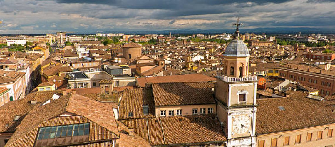 Cityscape of Modena on sunshine after storm, medieval town situated in Emilia-Romagna, Italy